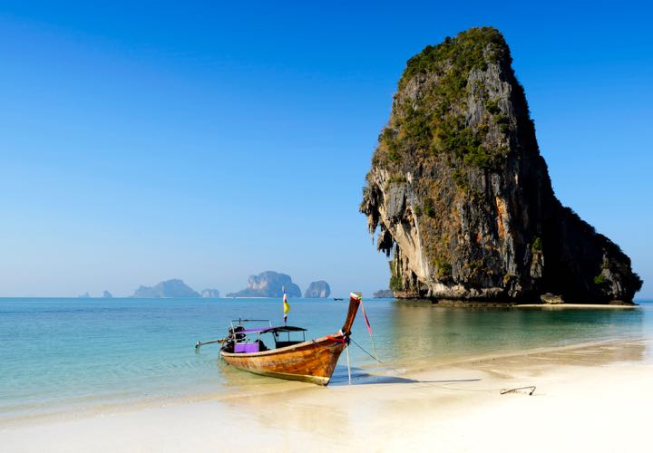 Railay Phra Ngan beach near Krabi in Thailand.