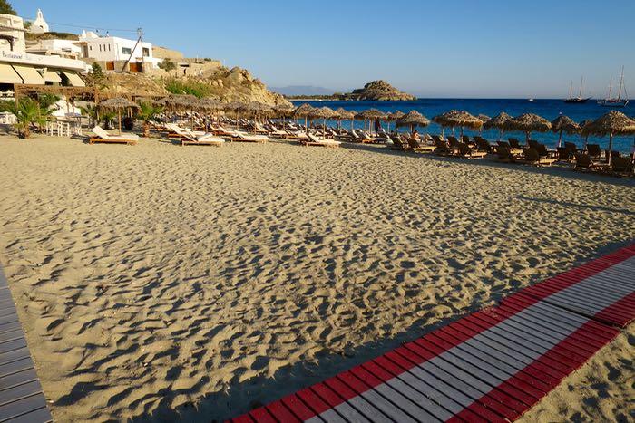 The best beach on Mykonos: Platys Gialos near Mykonos Town.
