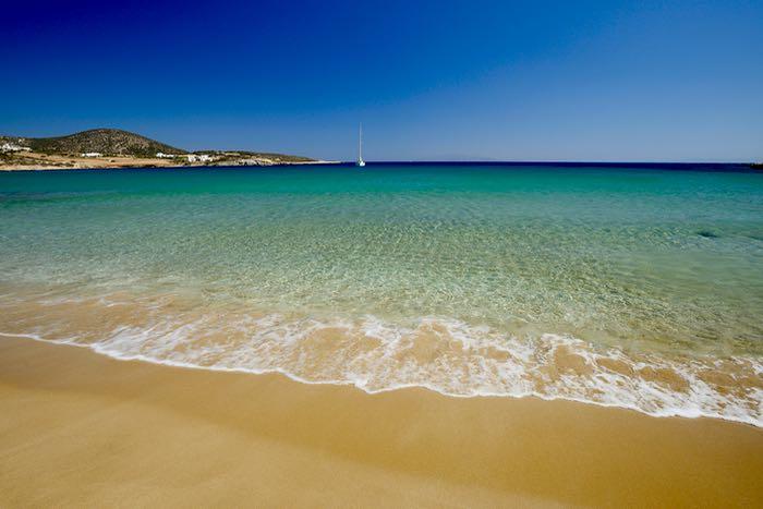 The best beach on Paros: Faraga Beach.