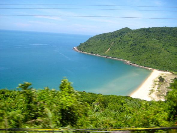 Beach on Vietnam's coast, as seen from the train