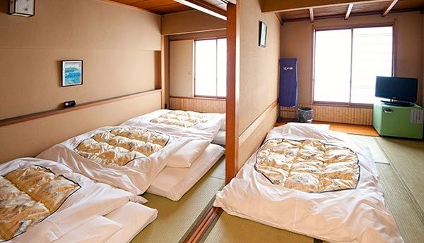 Japanese style family room with tatami mats.