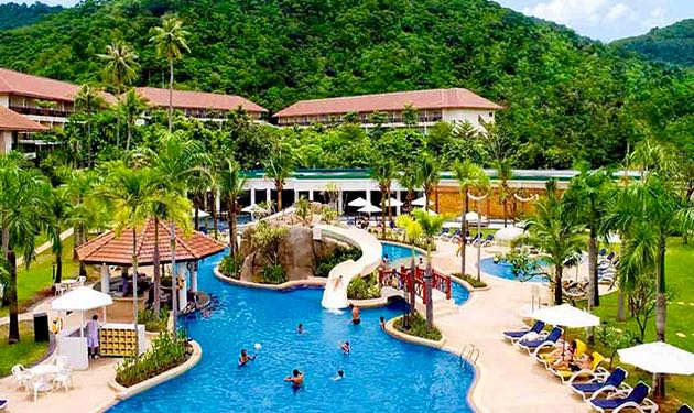 Resort in Phuket with water slides for kids.