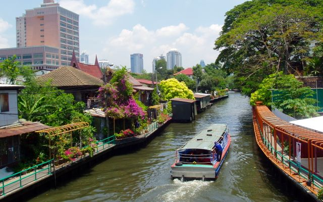 A boat on one of Bangkok's many canals and rivers.