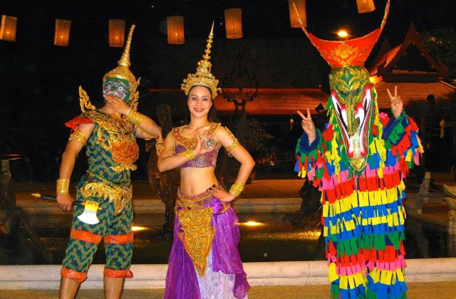 Siam Niramit traditonal dance and music performance near Bangkok.