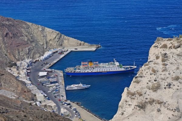 Athinios ferry port in Santorini.