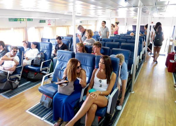 Is business class seating worth it on ferry to Santorini?
