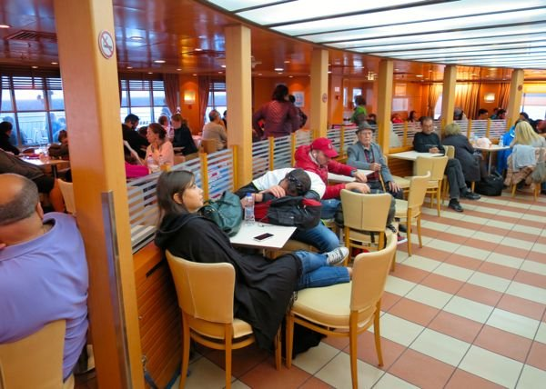 Economy lounge area on a Blue Star ferry.