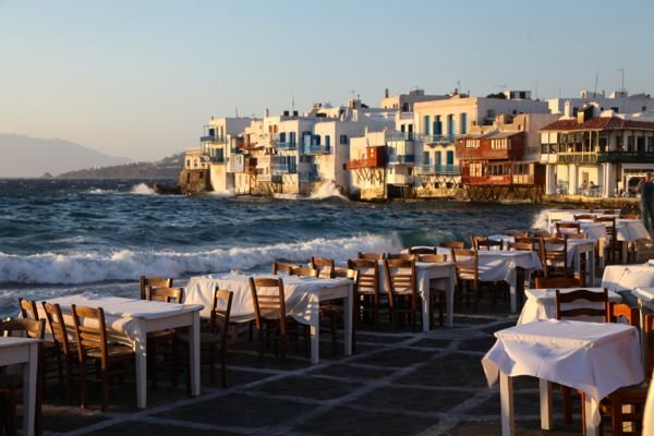 Restaurants with a view of the sea in Little Venice, Mykonos.