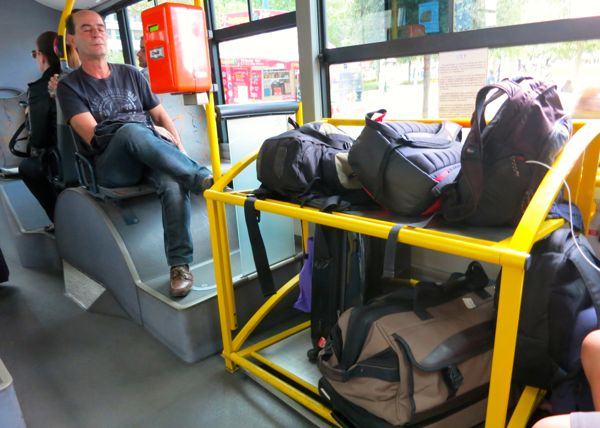 Luggage storage onboard the X96 bus from the Athens airport to the port of Piraeus. (The X95 bus to downtown Athens has the same layout.)