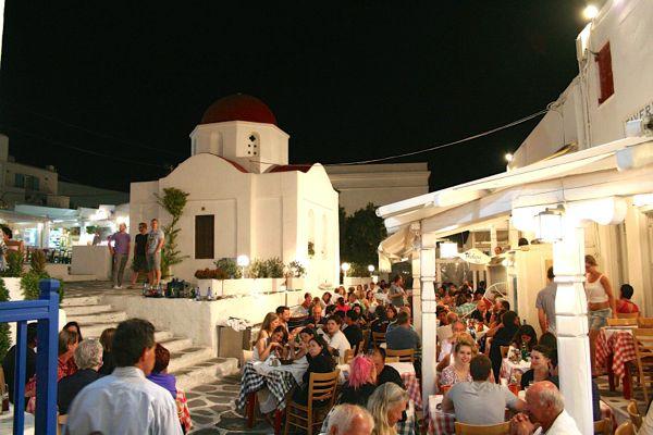 A restaurant in Mykonos Town.