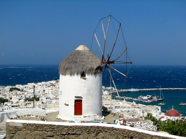 Windmills in Mykonos.