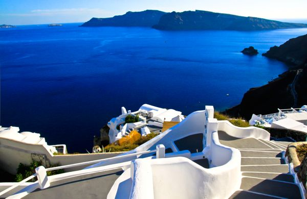 A view of the caldera from the cliffs of Santorini.