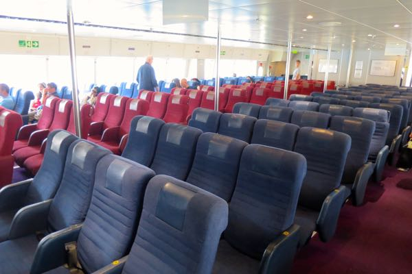 Economy class ferry seats between Crete and Santorini.