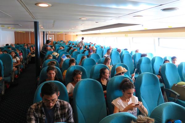 Economy class seats on the Terajet from Crete to Santorini.