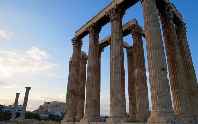 Temple of Olympian Zeus and Hadrians Gate in Athens.