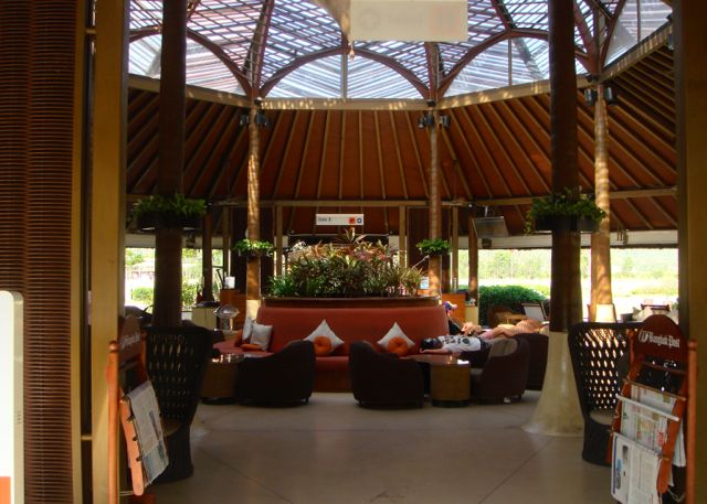 The waiting lounge in the Koh Samui airport.