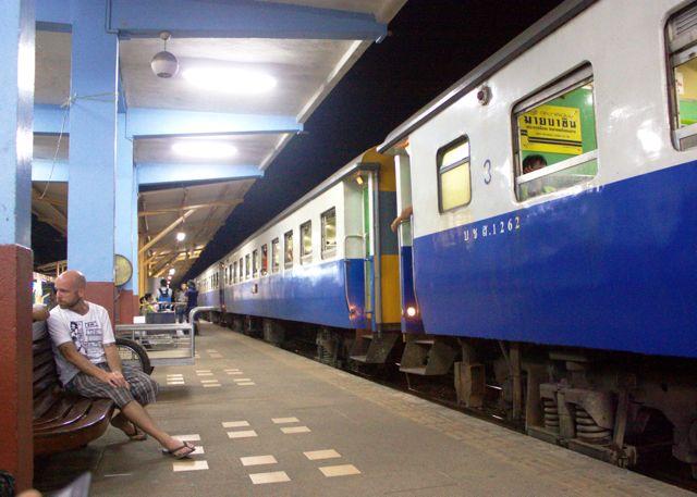 Train at Surat Thani train station.