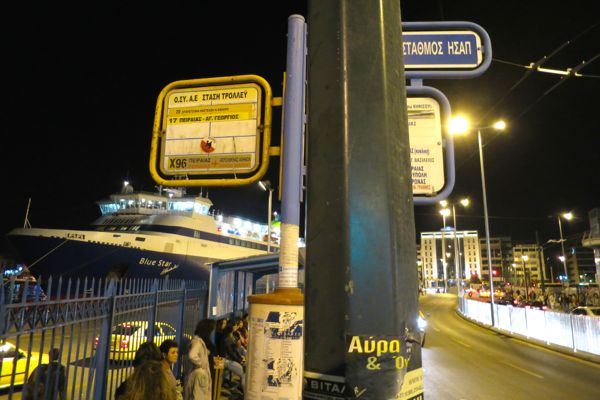 Bus stop in Piraeus for bus from airport.