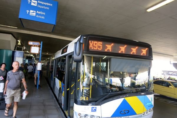 Athens airport X95 bus to downtown.