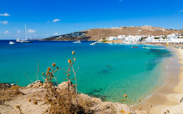 Platis Gialos Beach in Mykonos, Greek Islands