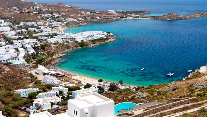 Platys Gialos, Psarou, and Paranga Beaches on Mykonos Island in Greece