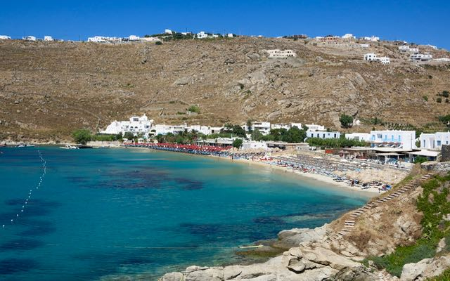Psarou Beach on Mykonos – The best for beach party through the day.