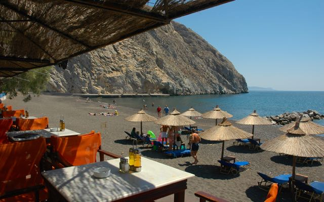 One of the best beaches on Santorini: Perissa Beach