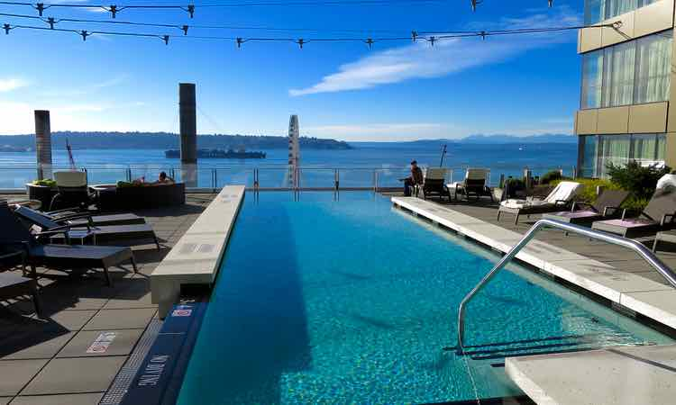 Best outdoor pool and luxury hotel in Seattle.