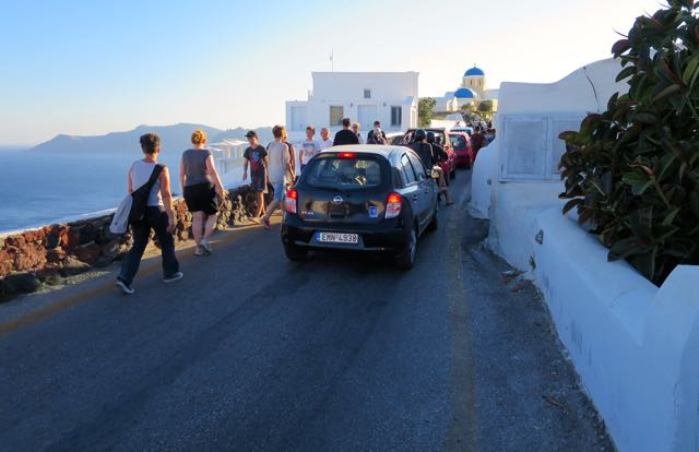 Walking on road to Perivolas Hotel in Oia.