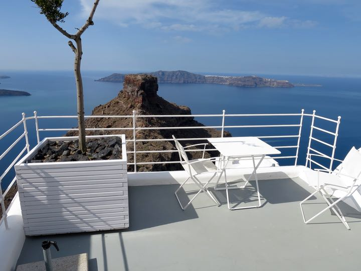 View of Skaros Rock and Volcano from Grace Santorini.