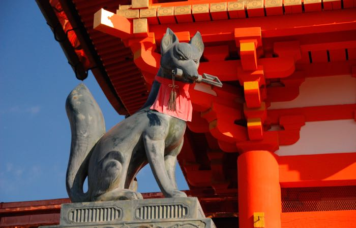 A stone fox in Kyoto's Fushimi Inari-taisha Shrine.