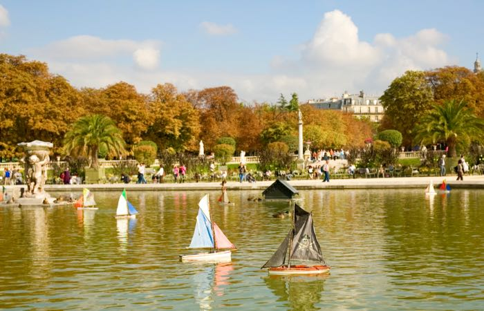Toy boats in the Luxembourg Garden of Paris, France