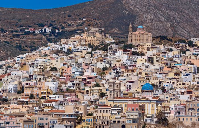 Panoramic view to City of Ermopoli on Syros – Traditional city in that sees few tourists though it's smack in the middle of the Cycladic Islands.