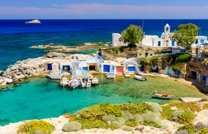 Mandrakia village on Milos island in the Cyclades. It's easy to overlook Milos but it's second to only Santorini for it's stunning geography.