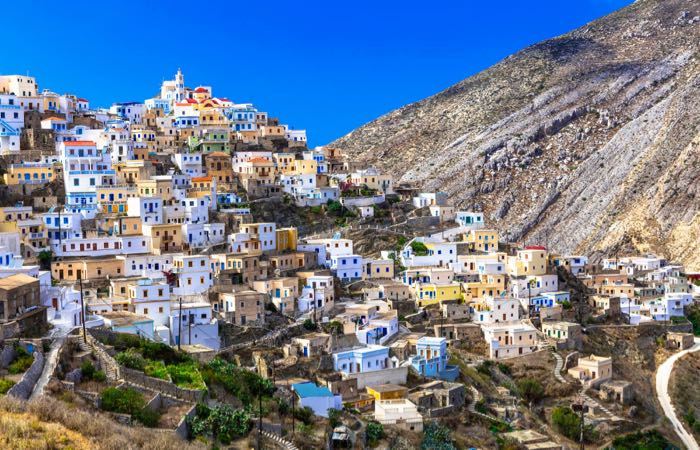 If you want a traditional island with few tourists then Karpathos Island is a great choice. This is Olimbos village up in the hills of the island.