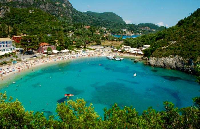The beach coves of Paleokastritsa in Corfu.
