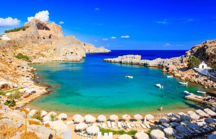 Beautiful cove at St Paul's Bay near Lindos in Rhodes.