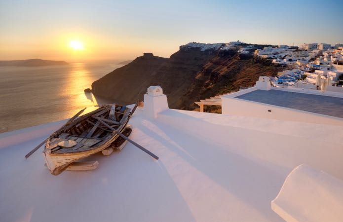 Fira hotels with sunset views.