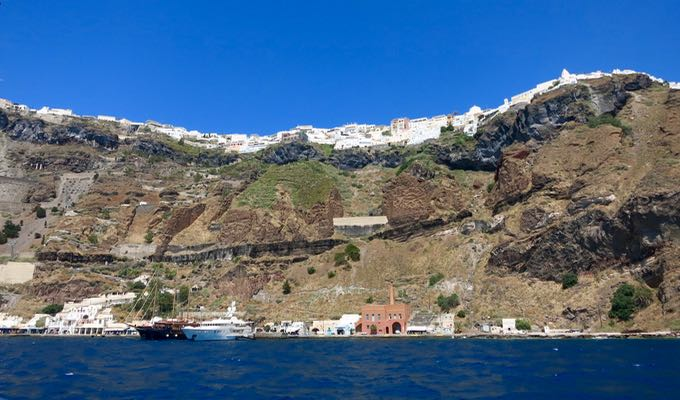 View of Fira from a ship.