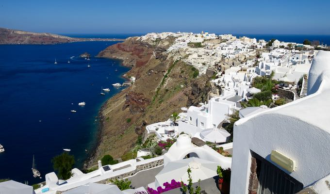 View of Oia from Perivolas resort in Santorini.
