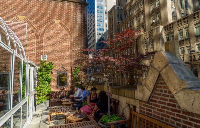 Outdoor terrace at New York's Library Hotel in Midtown.