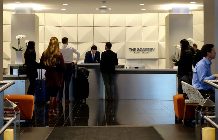 Downtown Boston's Godfrey Hotel is a modern luxury hotel in a historic Gothic Revival building.