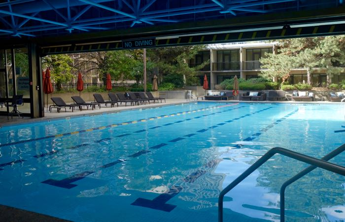 The heated indoor-outdoor swimming pool at Toronto's Sheraton Centre Hotel