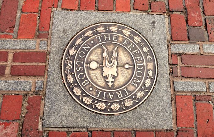 The Freedom Trail runs from Boston Common to the Bunker Hill Monument.