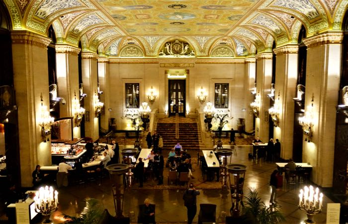 The grand lobby of Chicago's historic Palmer House luxury hotel