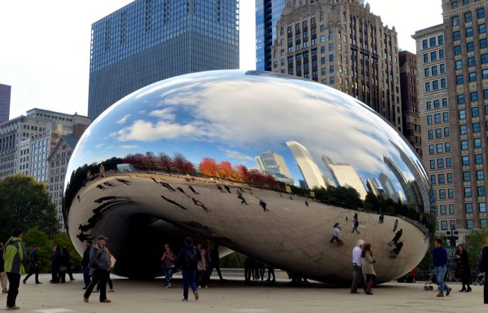 "Chicago's famous bean statue, officially ""Cloud Gate,"" is a great spot to take a selfie."