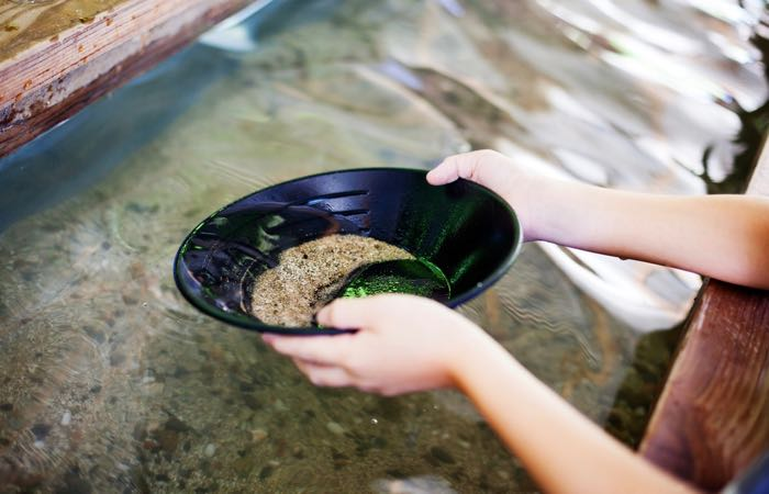 Panning for gold at Seattle's Klondike Gold Rush Museum