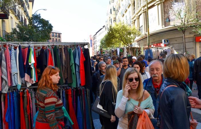 Shopping at El Rastro flea market in Madrid