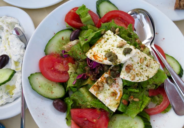 Traditional greek food tour in Santorini, Greece.
