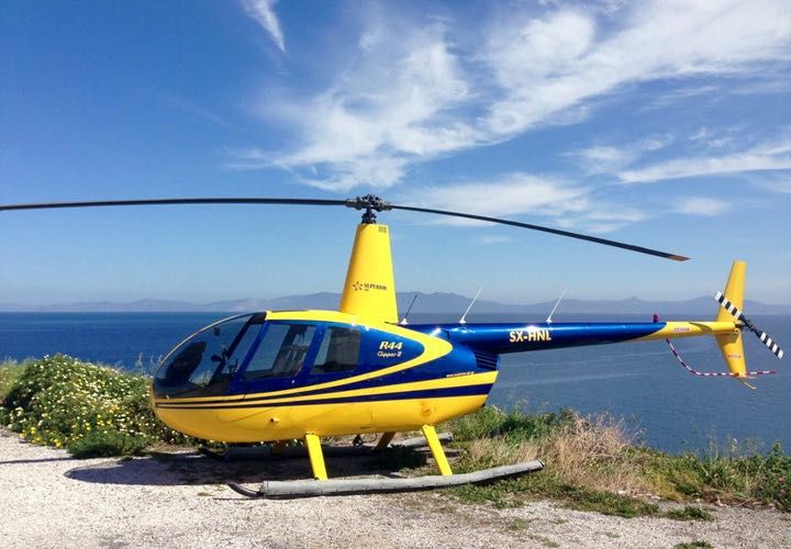 Helicopter Tour in Santorini with views of volcano and caldera.